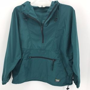 LL Bean TEAL1/2 ZIP LITE WEIGHT PULL-OVER JACKET L